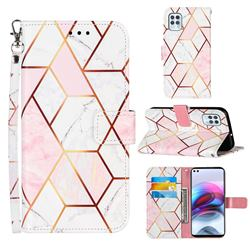 Pink White Stitching Color Marble Leather Wallet Case for Motorola Moto G100