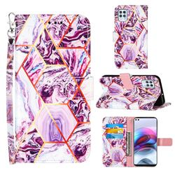 Dream Purple Stitching Color Marble Leather Wallet Case for Motorola Moto G100