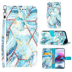 Lake Blue Stitching Color Marble Leather Wallet Case for Motorola Moto G100