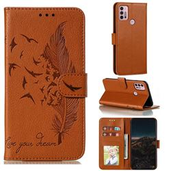Intricate Embossing Lychee Feather Bird Leather Wallet Case for Motorola Moto G30 - Brown