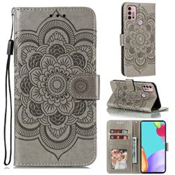 Intricate Embossing Datura Solar Leather Wallet Case for Motorola Moto G30 - Gray