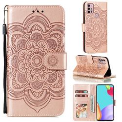 Intricate Embossing Datura Solar Leather Wallet Case for Motorola Moto G30 - Rose Gold