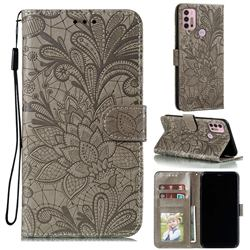 Intricate Embossing Lace Jasmine Flower Leather Wallet Case for Motorola Moto G30 - Gray