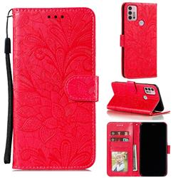 Intricate Embossing Lace Jasmine Flower Leather Wallet Case for Motorola Moto G30 - Red