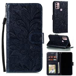 Intricate Embossing Lace Jasmine Flower Leather Wallet Case for Motorola Moto G30 - Dark Blue