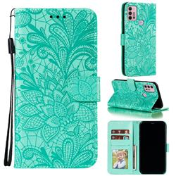 Intricate Embossing Lace Jasmine Flower Leather Wallet Case for Motorola Moto G30 - Green