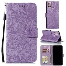 Intricate Embossing Lace Jasmine Flower Leather Wallet Case for Motorola Moto G30 - Purple