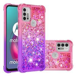 Rainbow Gradient Liquid Glitter Quicksand Sequins Phone Case for Motorola Moto G30 - Pink Purple