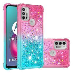 Rainbow Gradient Liquid Glitter Quicksand Sequins Phone Case for Motorola Moto G30 - Pink Blue