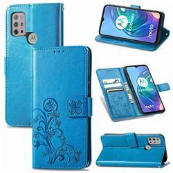 Embossing Imprint Four-Leaf Clover Leather Wallet Case for Motorola Moto G30 - Blue