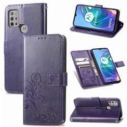 Embossing Imprint Four-Leaf Clover Leather Wallet Case for Motorola Moto G30 - Purple