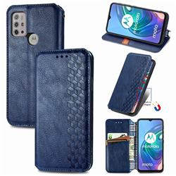 Ultra Slim Fashion Business Card Magnetic Automatic Suction Leather Flip Cover for Motorola Moto G30 - Dark Blue