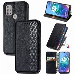 Ultra Slim Fashion Business Card Magnetic Automatic Suction Leather Flip Cover for Motorola Moto G30 - Black