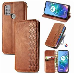 Ultra Slim Fashion Business Card Magnetic Automatic Suction Leather Flip Cover for Motorola Moto G30 - Brown