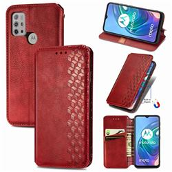 Ultra Slim Fashion Business Card Magnetic Automatic Suction Leather Flip Cover for Motorola Moto G30 - Red