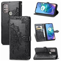 Embossing Imprint Mandala Flower Leather Wallet Case for Motorola Moto G30 - Black