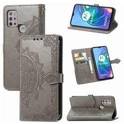 Embossing Imprint Mandala Flower Leather Wallet Case for Motorola Moto G30 - Gray