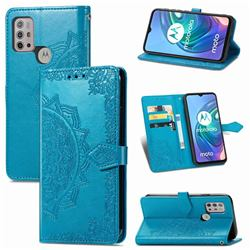 Embossing Imprint Mandala Flower Leather Wallet Case for Motorola Moto G30 - Blue