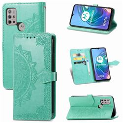 Embossing Imprint Mandala Flower Leather Wallet Case for Motorola Moto G30 - Green