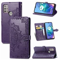 Embossing Imprint Mandala Flower Leather Wallet Case for Motorola Moto G30 - Purple