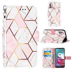 Pink White Stitching Color Marble Leather Wallet Case for Motorola Moto G30