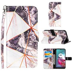 Black and White Stitching Color Marble Leather Wallet Case for Motorola Moto G30