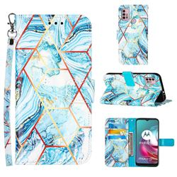 Lake Blue Stitching Color Marble Leather Wallet Case for Motorola Moto G30
