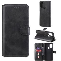 Retro Calf Matte Leather Wallet Phone Case for Motorola Moto G30 - Black