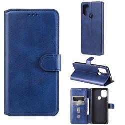 Retro Calf Matte Leather Wallet Phone Case for Motorola Moto G30 - Blue