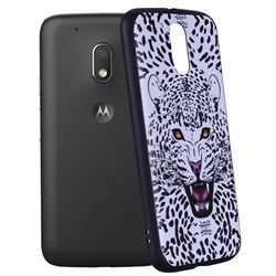 Snow Leopard 3D Embossed Relief Black Soft Back Cover For Motorola Moto G4 Plus Glasses Cat