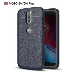 Luxury Auto Focus Litchi Texture Silicone TPU Back Cover for Motorola Moto G4 G4 Plus - Dark Blue