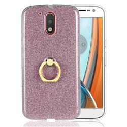 Luxury Soft TPU Glitter Back Ring Cover with 360 Rotate Finger Holder Buckle for Motorola Moto G4 G4 Plus - Pink