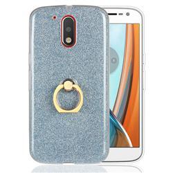 Luxury Soft TPU Glitter Back Ring Cover with 360 Rotate Finger Holder Buckle for Motorola Moto G4 G4 Plus - Blue