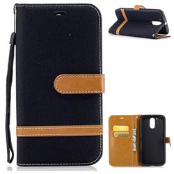 Jeans Cowboy Denim Leather Wallet Case for Motorola Moto G4 G4 Plus - Black