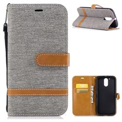 Jeans Cowboy Denim Leather Wallet Case for Motorola Moto G4 G4 Plus - Gray
