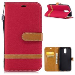 Jeans Cowboy Denim Leather Wallet Case for Motorola Moto G4 G4 Plus - Red