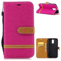 Jeans Cowboy Denim Leather Wallet Case for Motorola Moto G4 G4 Plus - Rose
