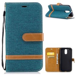 Jeans Cowboy Denim Leather Wallet Case for Motorola Moto G4 G4 Plus - Green