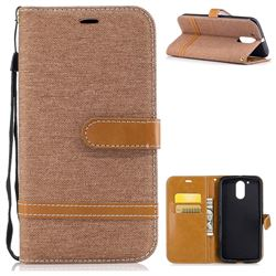 Jeans Cowboy Denim Leather Wallet Case for Motorola Moto G4 G4 Plus - Brown