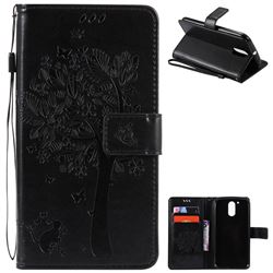 Embossing Butterfly Tree Leather Wallet Case for Motorola Moto G4 G4 Plus - Black