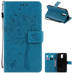 Embossing Butterfly Tree Leather Wallet Case for Motorola Moto G4 G4 Plus - Blue