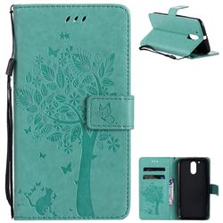 Embossing Butterfly Tree Leather Wallet Case for Motorola Moto G4 G4 Plus - Cyan