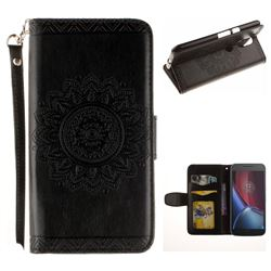 Embossed Datura Flower PU Leather Wallet Case for Motorola Moto G4 G4 Plus - Black