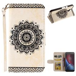 Embossed Datura Flower PU Leather Wallet Case for Motorola Moto G4 G4 Plus - White