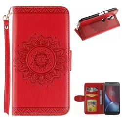 Embossed Datura Flower PU Leather Wallet Case for Motorola Moto G4 G4 Plus - Red