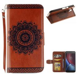 Embossed Datura Flower PU Leather Wallet Case for Motorola Moto G4 G4 Plus - Brown