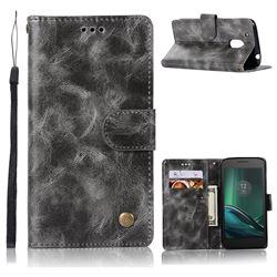 Luxury Retro Leather Wallet Case for Motorola Moto G4 G4 Plus - Gray