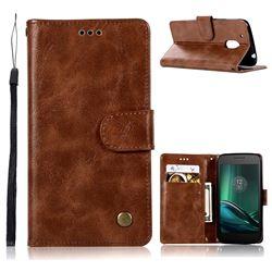 Luxury Retro Leather Wallet Case for Motorola Moto G4 G4 Plus - Brown