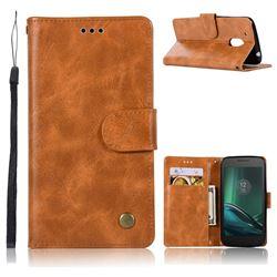Luxury Retro Leather Wallet Case for Motorola Moto G4 G4 Plus - Golden