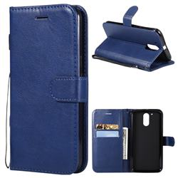 Retro Greek Classic Smooth PU Leather Wallet Phone Case for Motorola Moto G4 G4 Plus - Blue